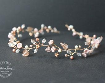 Rose gold hair vine wedding bridal hair accessory accessories - headband - wreath - bride rose blush pink gold flower crown STYLE: Zoe