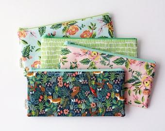 Rifle Zipper Bag, Zipper Pouch, Pencil Pouch, Jungalow Pencil Case, Botanical, Make Up Bag, Back to School, Teen, Women, Make Up Bag, Plants