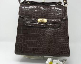 Vintage Brown Shoulder Bag - Vanguard Faux Crocodile Small Shoulder Bag