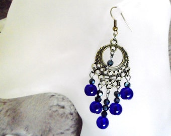 Regal  Cobalt Blue Chandelier Earrings