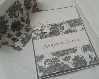 Personalized Handmade Sewn Wedding, Engagement or Vow Renewal Card