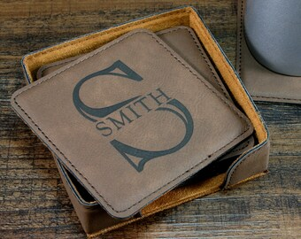 Monogrammed Leather Coaster Set, Personalized Coasters, Custom Engraved Coasters, Personalized Gift for Couples, 3rd Anniversary Gift