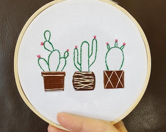 Cactus Embroidery DIY Kit - Hand Embroidery Kit - Hoop Art Kit