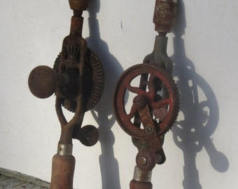 Pair of Vintage Hand Drills Salvaged Barn Treasures Man Cave Decor