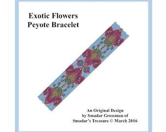 Peyote Bracelet Beading Pattern, 3 Drop Odd Count Peyote Stitch / Exotic Flowers Bracelet / Off Loom Beadwork Beadweaving Bracelet Pattern