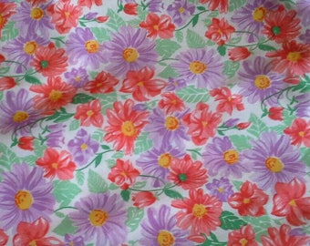 Red and Purple Floral Print Knit Fabric 2 Yards X1021