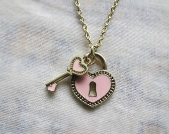 pink heart key and lock necklace