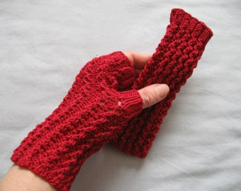 White or Garnet Red Cotton Lacy Hand Knit Fingerless Gloves