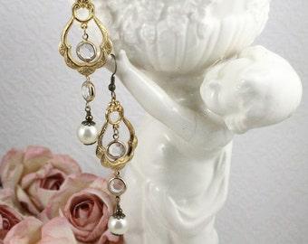 Crystal and Pearl Bridal Earrings, Vintage Assemblage Gold Bridal Earrings, Gold Assemblage Bridal Earrings with Crystals and Pearls