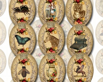 CHaRMiNG Victorian Style 30x40 mm ovals- Great for Pendants - INSTaNT DOWNLoAD - Printable Collage Sheet JPG Digital File