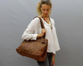 Sale!!! Large brown leather bag Large Distressed leather bag Large leather bag Large tote Handmade bag by Limor Galili
