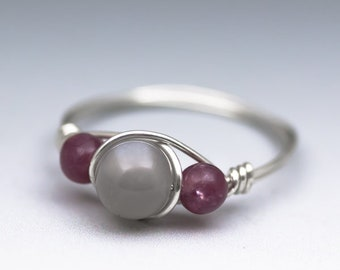 Grey Moonstone & Lepidolite Sterling Silver Wire Wrapped Gemstone Bead Ring - Made to Order, Ships Fast!