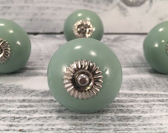 Round Sage Green Ceramic Tomato Knobs, Decorative Pull Knob, Dresser Drawer Furniture Upgrade Pulls, Cabinet Supply, Item #522489331