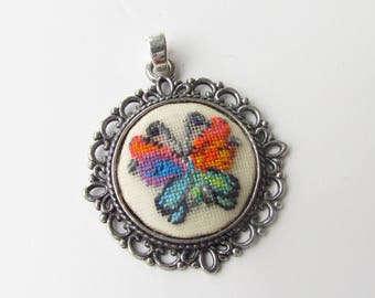 Jewelry Butterfly. Butterfly Pendant. Butterfly Jewelry. Embroidered Pendant. Vintage style Butterfly. Butterfly Lover Gift Handmade Jewelry