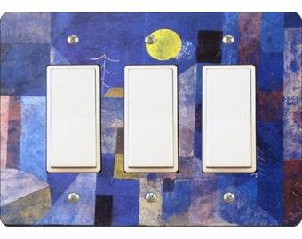 Paul Klee Moonlight Painting Triple Decora Rocker Light Switch Plate Cover