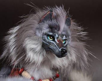 CUSTOM ORDER. Moon wolf/ totem hyena. OOAK Art Doll.Handmade Poseable Toy.Wolf Toy.Totem.