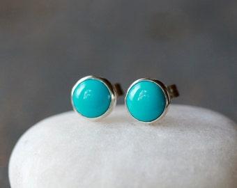 Turquoise Stud Earrings, Sleeping Beauty Turquoise, Sterling Silver Turquoise Jewelry, December Birthstone, Boho Stud Earrings
