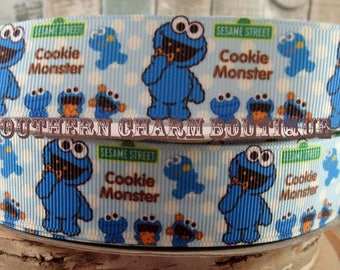 """3 yards of 1 """"cookie monster grosgrain ribbon"""