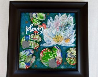 Lily Pond Mixed Media Art, Original Painting, Colorful Painting, Mixed Media Canvas, Play Collage, Framed Painting, Inspirational Art