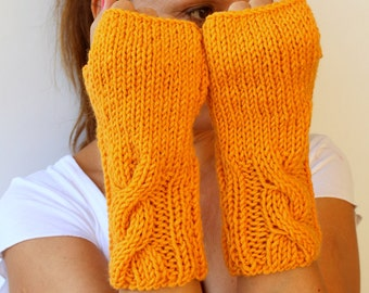 Hand Knitted Cable Marigold Tangerine Orange Yellow Fingerless Gloves Mittens