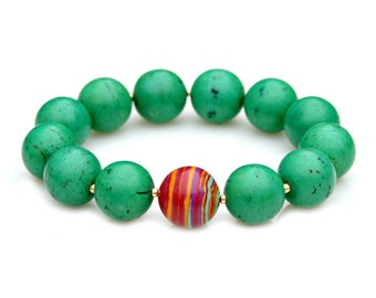 Green Turquoise Bracelet Chunky STATEMENT Stacking Gem Beaded Stretch Tribal Rustic Feminine Flair Stackable Summer Goddess Mei Faith