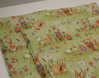 Pair of Placemats:  Rabbits, Eggs, and Flowers on Light Green