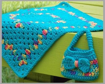 Petite Purse & Doll Blanket - Little Girl's Purse ... Crochet Pattern ... Instant Download