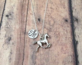 Horse initial necklace - horse jewelry, western necklace, horse riding jewelry, equestrian necklace, western jewelry, silver horse pendant
