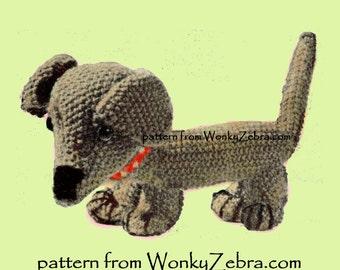 A knitted toy dachshund dog Vintage Knit Pattern PDF 520 from ToyPatternLand  and WonkyZebra