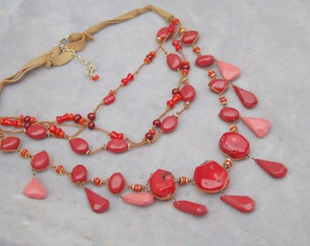 Red Coral Multi Strand Tropic Statement Necklace