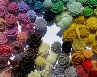 ENTIRE INVENTORY of Cabochon Flowers - rose, mum, resin flowers, wholesale lot, business close out, discount, sale