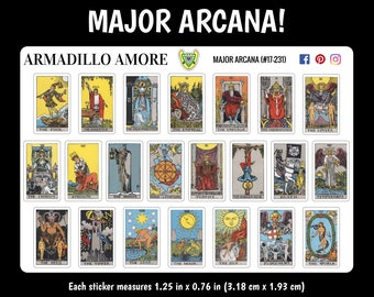 231 | Major Arcana Tarot Card Stickers, Choose Regular or Mini {22 Fancy Matte or Glossy Planner Stickers}