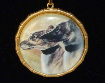 Likely Lads Vintage Alt Art 2 Greyhounds or Whippets Pendant Necklace