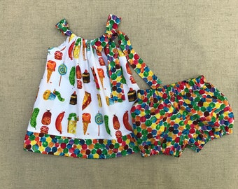 The Very Hungry Caterpillar Dress and bloomers, Caterpillar Birthday Dress