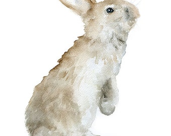 Bunny Rabbit Watercolor Painting Giclee Print Reproduction 8 x 10 - Woodland Animal 8.5 x 11 Nursery Art Print