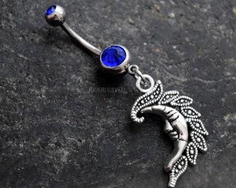 Moon Navel Belly Ring 14 gauge (1.6mm) Blue CZ Gem Stone Jewelry Accessory Piercing