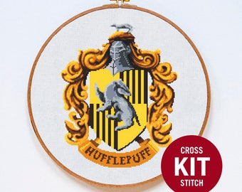 Hufflepuff Cross Stitch Kit, Harry Potter Cross Stitch Kit, Modern Cross Stitch Kit, Hogwarts, Counted Cross Stitch Pattern Instructions