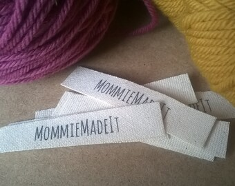 Organic Cotton Fabric Name Labels - Clothing Labels Made to Order - 30 Labels With One Line of Text