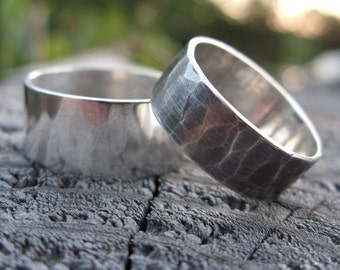 Matching Set of Rustic Wide Hammered Sterling Silver Wedding Bands with Personalized Inscription - Commitment Rings