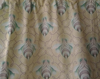 Bumble bee's on mint green valance with gray beaded trim, Bumble bee curtain set