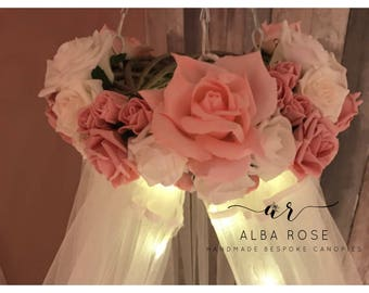 ALBA   Soft pink and white  flowers Handmade bed canopy crib canopy, girl bedroom decor reading nook, baby nursery decor