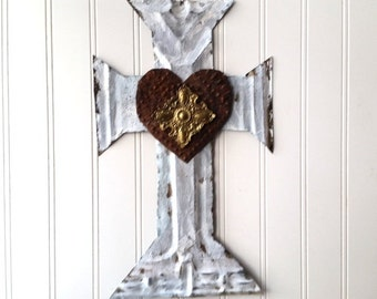 Upcycled antique tin cross with rusty antique heart hand cut large white wall decor French Country Southwest Religious Farmhouse cottage