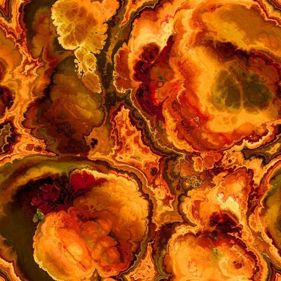 Artist Made Red Golden Lightening Strikes Kona Cotton Quilting Textile Art Fabric Panel