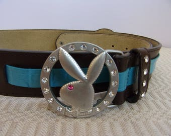 Vintage Women's and Girl's Belt/Brown Blue Leather Belt/Party Belt/Romantic Metal Buckle/Glass Beads/Studs/Gift for Her