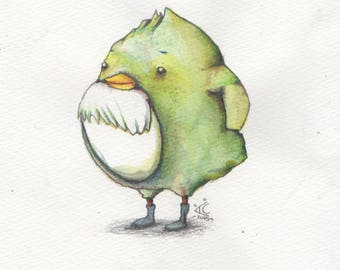 Green Bird **Original Drawing**