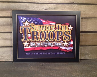 14x18 framed patriotic support the troops print  Army Marines Navy and Air Force country primitive farmhouse decor Wall hanging art picture