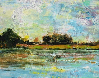 """Archival Print of Original Oil Painting """"Lake and Land Abstraction"""""""