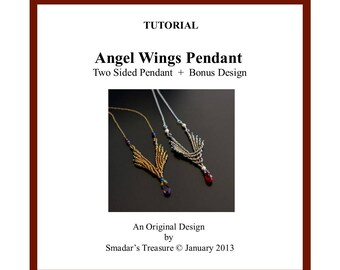 Beading Tutorial, Angel Wings, a Reversible Pendant. Beading Pattern with Seed Beads and Crystals. How to Bead Pattern by Smadar Grossman