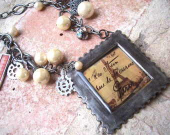Framed in Paris pearl assemblage necklace with Eiffel Tower pendant