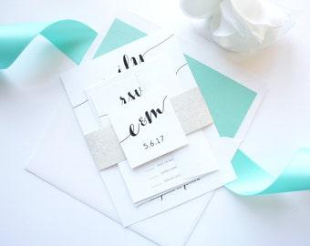 Modern Wedding Invite, Mint Wedding Invitations, Calligraphy Wedding Invitation, Glitter - SAMPLE SET